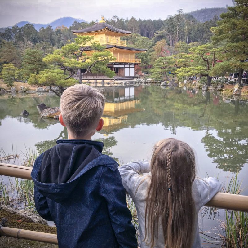 Kinkaku-ji with children